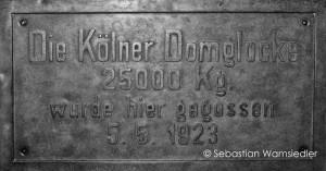 Glockenmuseum Apolda - Bronzetafel für die Kölner Petersglocke