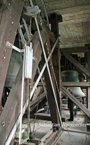 Blick in die untere Etage des Glockenstuhles