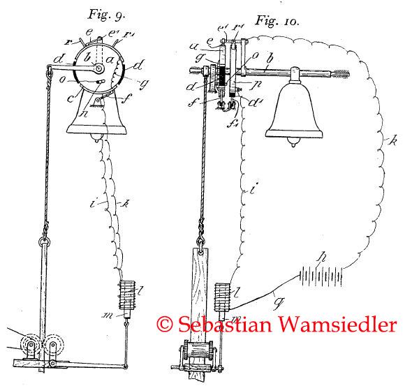 Konstruktionszeichnung eines historischen Läuteantriebs