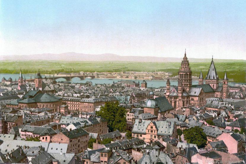 Blick über Mainz im Jahre 1890 (Autor unbekannt, gemeinfrei)